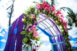 flowers with white wedding Arch