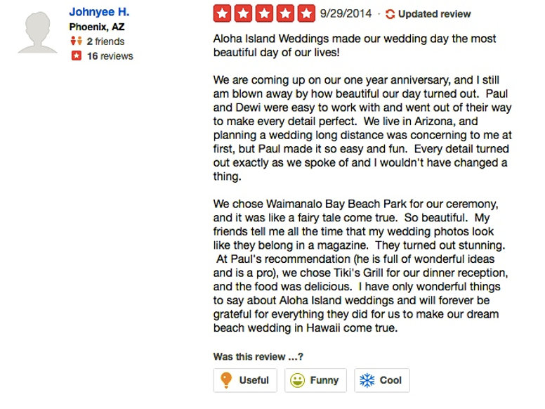 Review from wedding couples