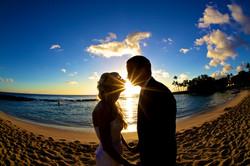 Sunset wedding photos in Hawaii