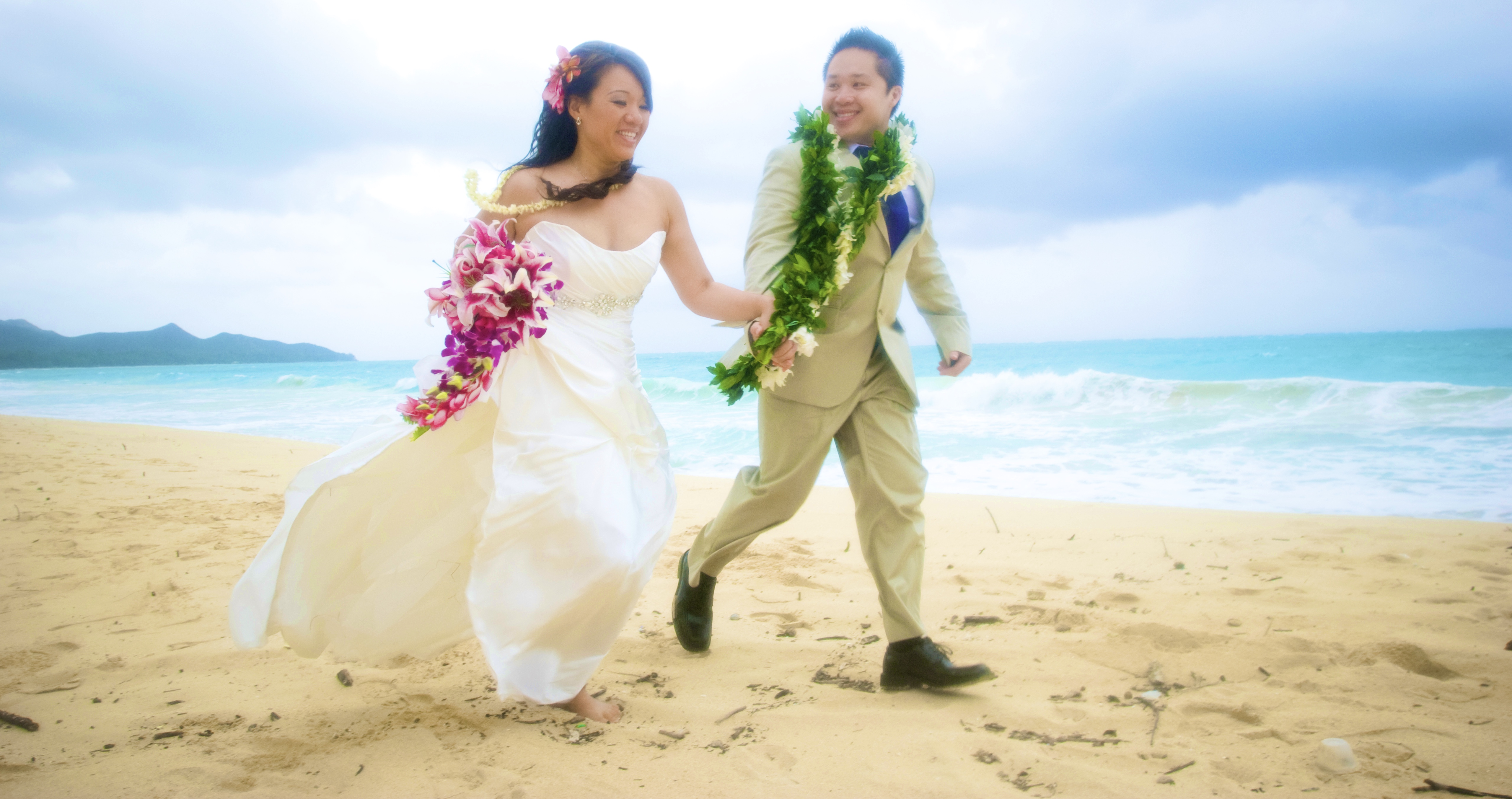 Hawaii bride on the beach