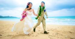 Hawaii bride on the beach