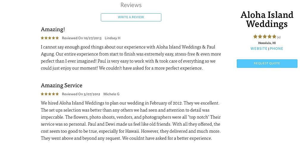 Hawaii Wedding review