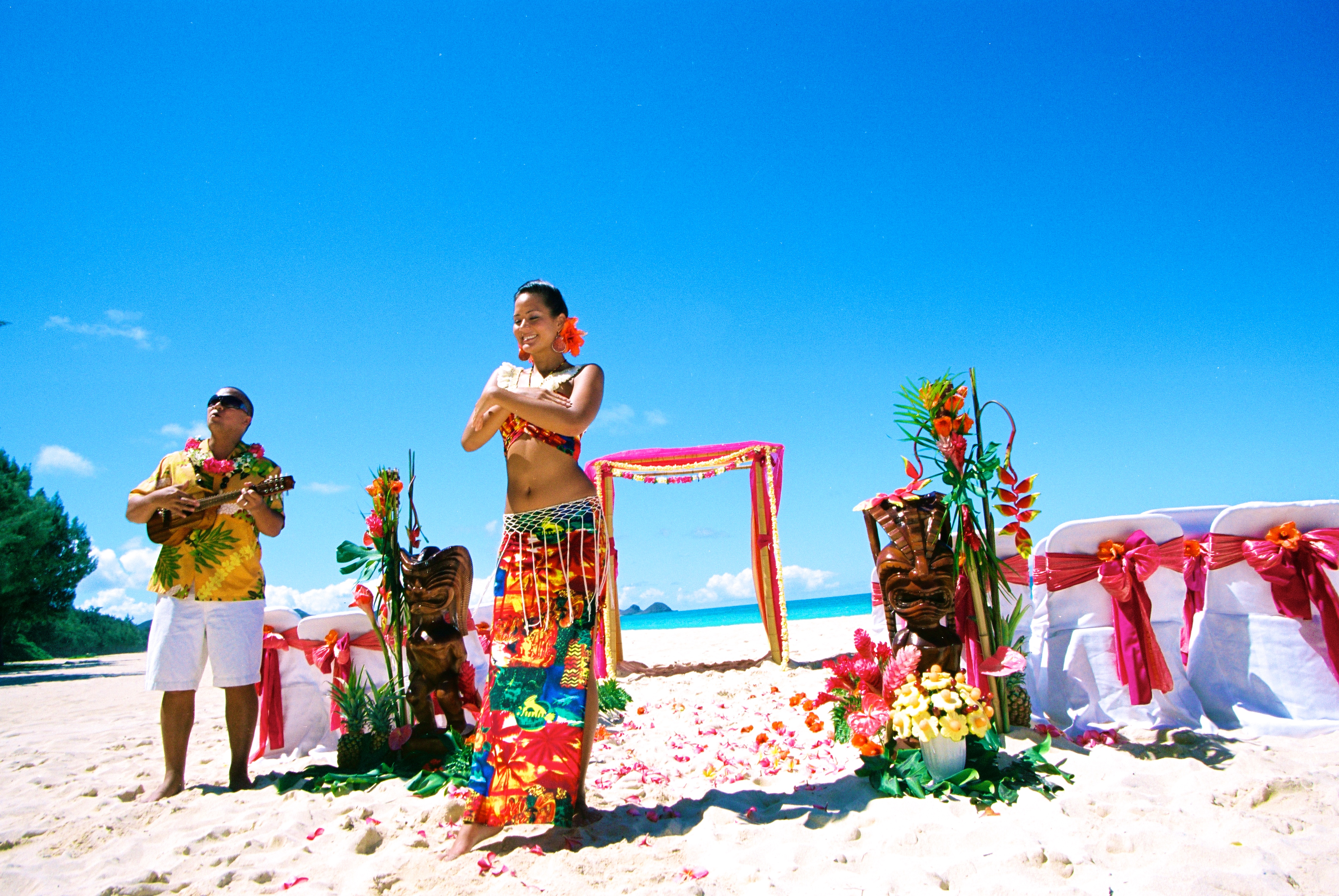 Hawaiian hula dancer with Ukulele 7