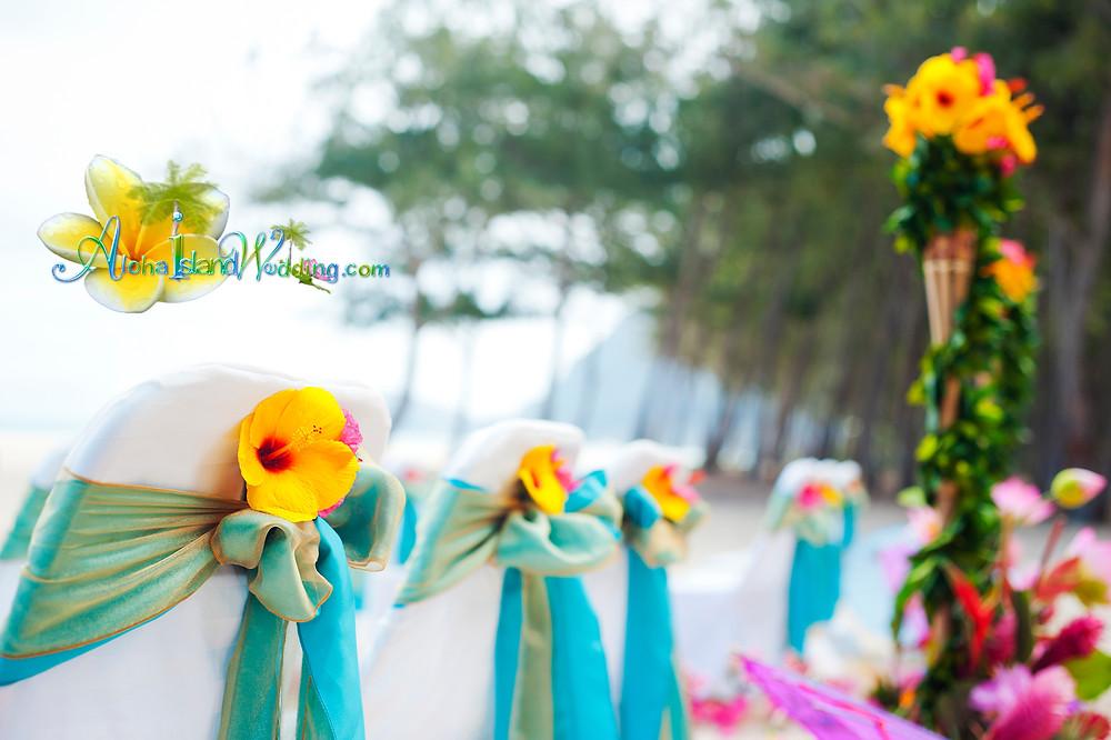 Beach wedding with Hawaiian Indian style