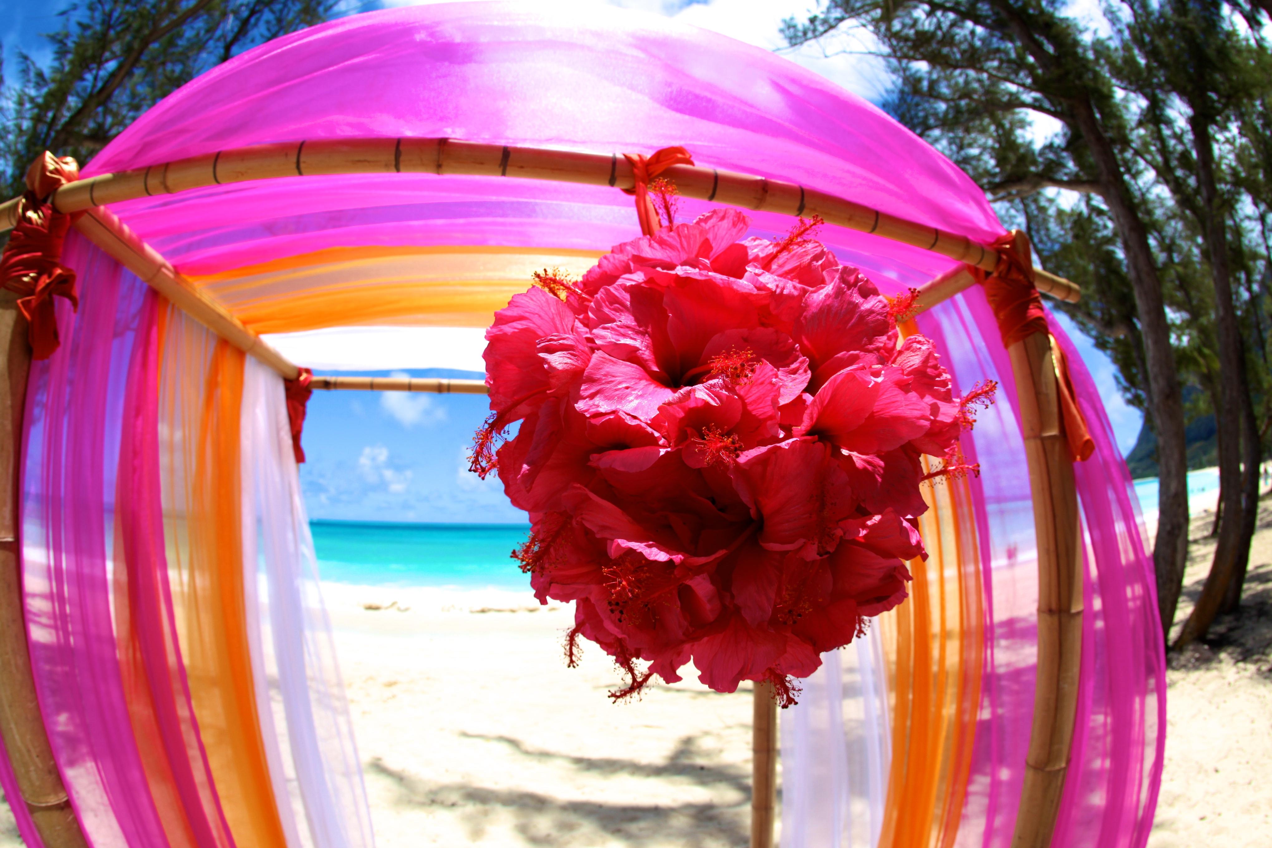 Hawaii Wedding Bamboo Arch 2