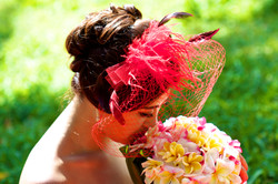 Kissing the plumeria bouquet