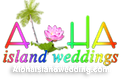 wedding logo for alohaisland wedding wit