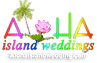 wedding logo for alohaisland wedding wit