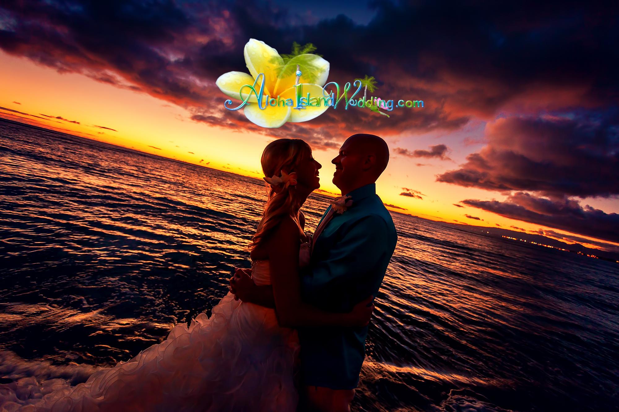 Hawaii wedding sunset on the beach -