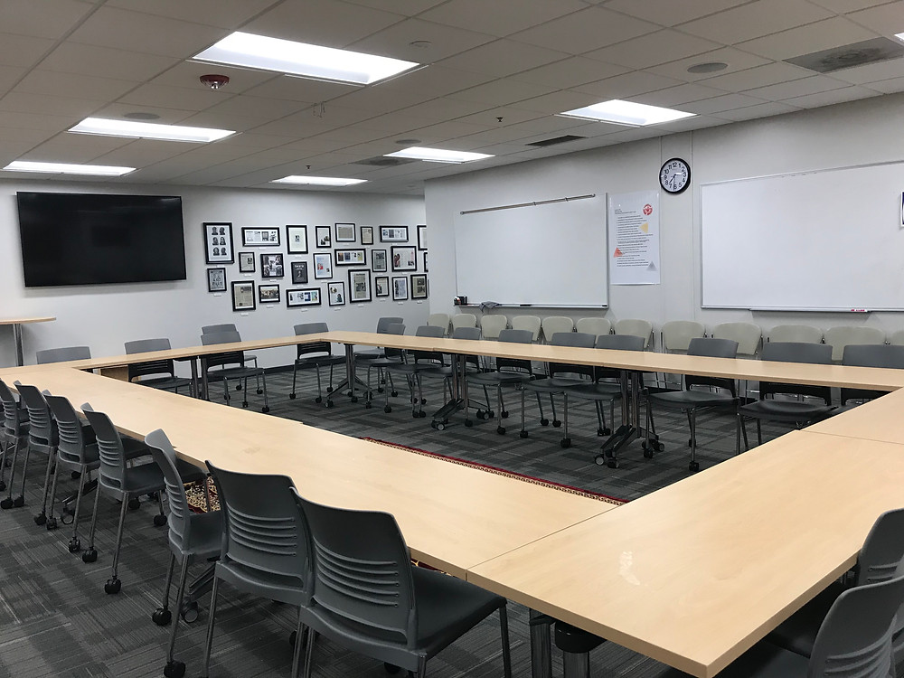 Classroom in the round at North Hennepin Community College allows students to more fully see each other, leading to enhanced engagement