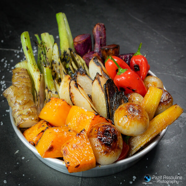 אנטיפסטי, ירקות צלויים מטופלים היטב, צילום קולינרי פזית אסולין