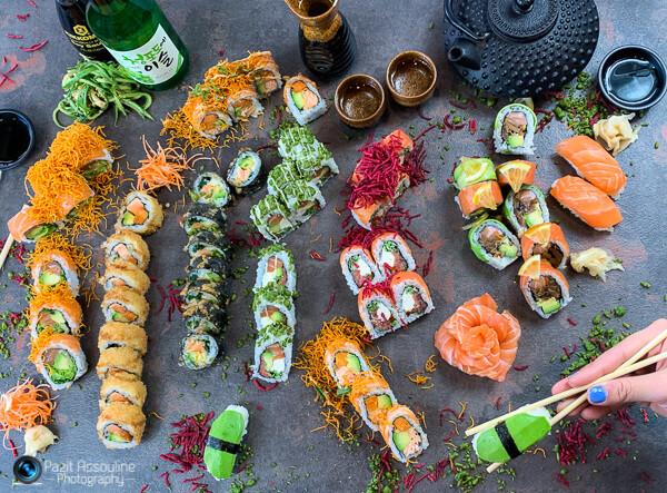סושי, צילום קולינרי וסטיילינג מזון פזית אסולין