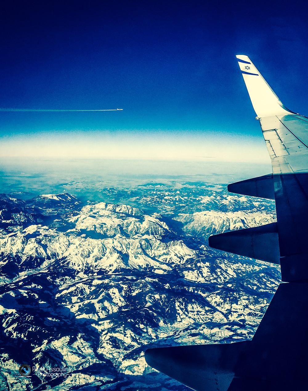 צילום מהמטוס בדרך לישראל, מלונדון