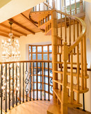 Spiral staircase to a tranquil reading room