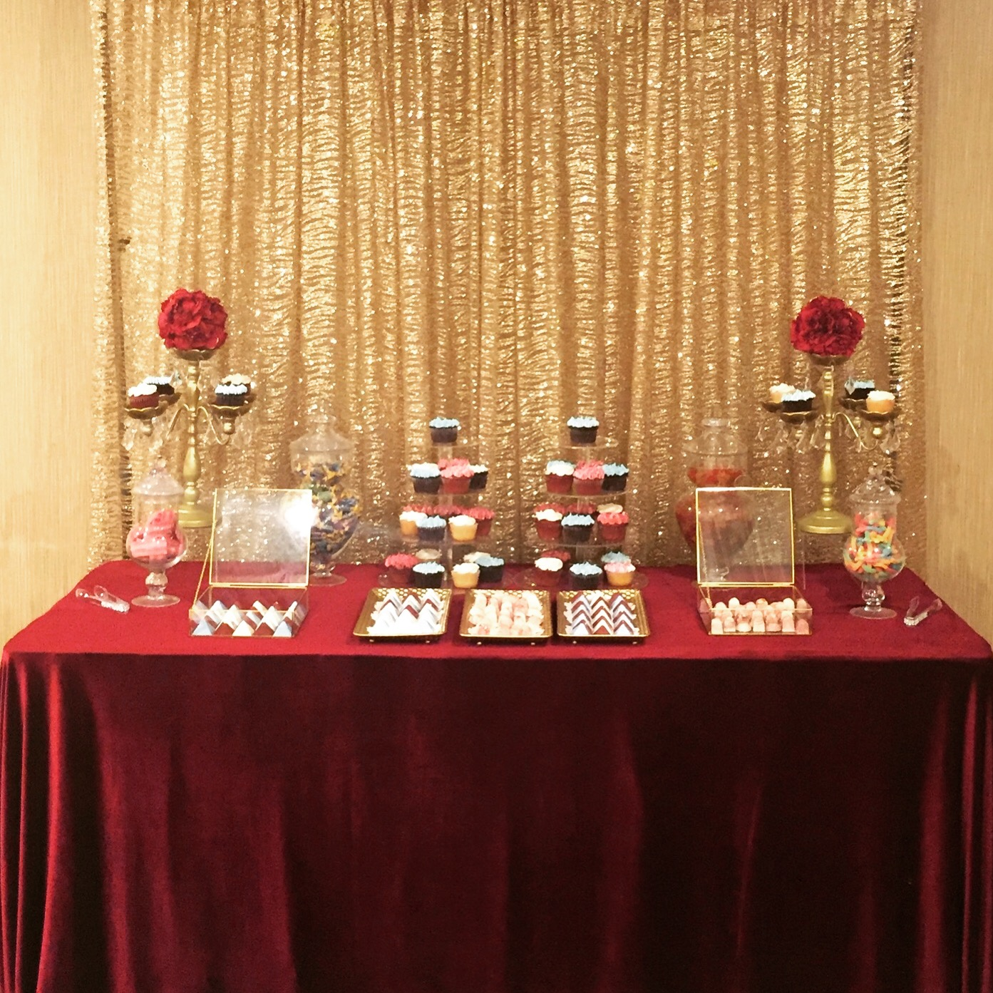 Gold & Burgundy dessert table.JPG