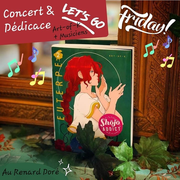 Soirée concert et dédicace avec musiciens et Art-of-K au Renard Doré pour la sortie du manga Euterpe T.02