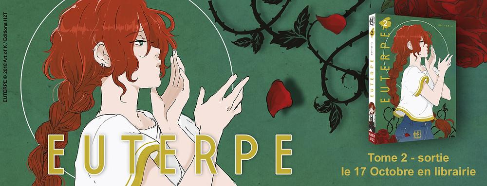 """Sortie du manga Josei """"Euterpe T.02"""" d'Art-of-K aux Editions H2T le 17 octobre 2018 en librairie"""