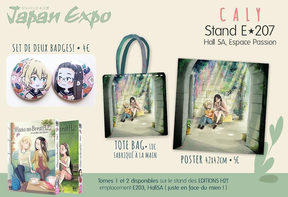 Les goodies de CALY - Japan Expo 2018 [Hana No Breath - Editions H2T]