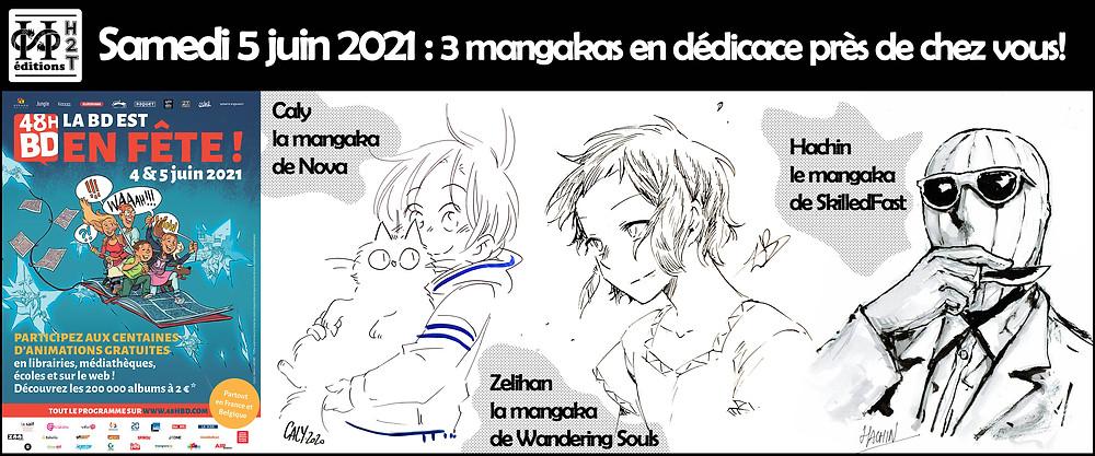 48H BD : samedi 5 juin 2021, 3 mangakas des Editions H2T en dédicace près de chez vous.