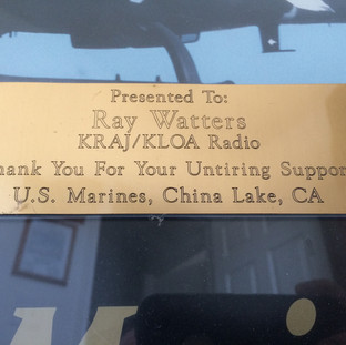 Honored by U.S. Marines at China Lake Naval Air Warfare Center.