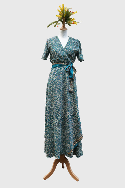 Madhu Wrap Dress long #4 S-M