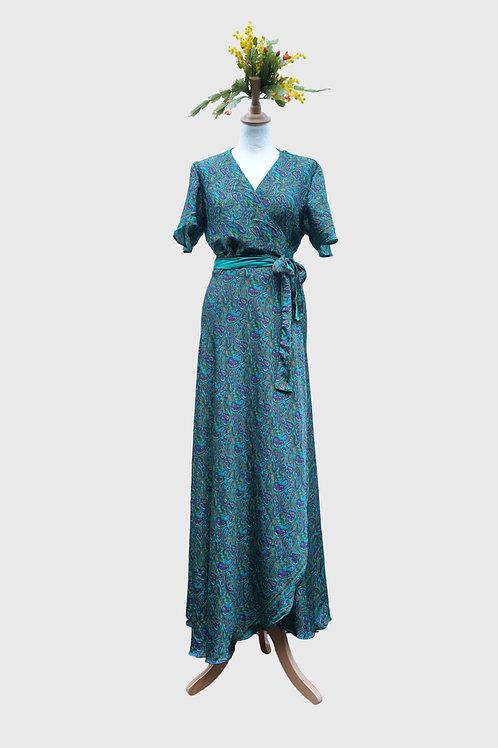 Madhu Wrap Dress long #3 M-L