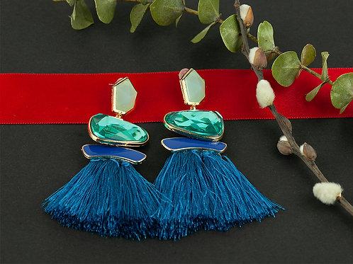 Brincos Tassels Blue