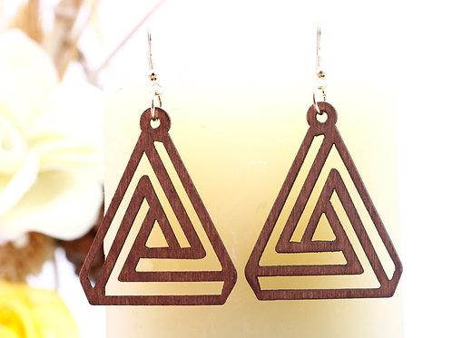 Wood Triangular  Brown Earrings