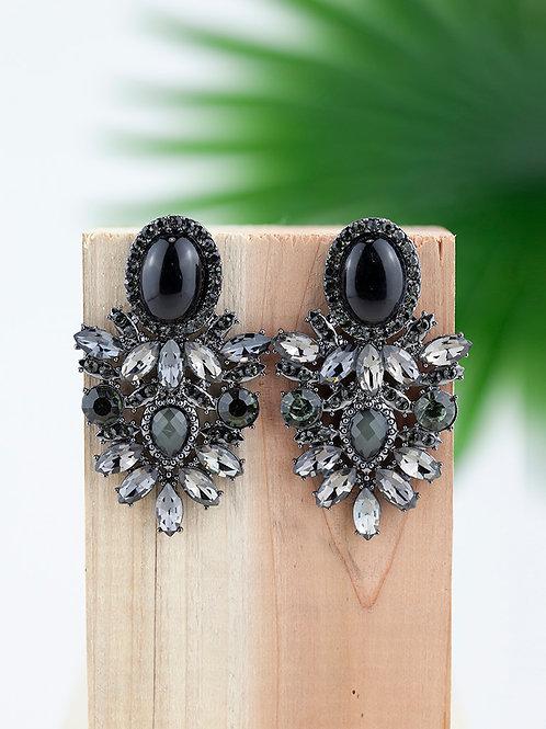 Brincos / Drop Earrings com Cristais cinzentos e pretos