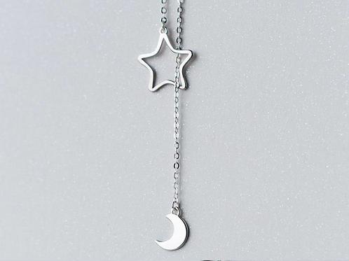 Colar Moon and Star Prata 925
