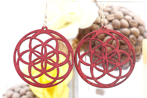 Wood  Red Dodeca Earring