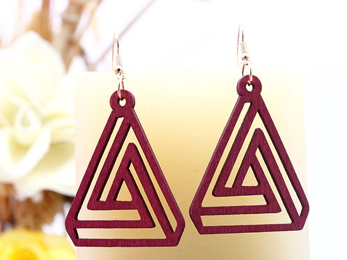 Wood Triangular Red Earrings