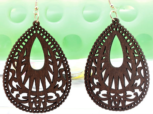Wood Brown Tracery Earrings