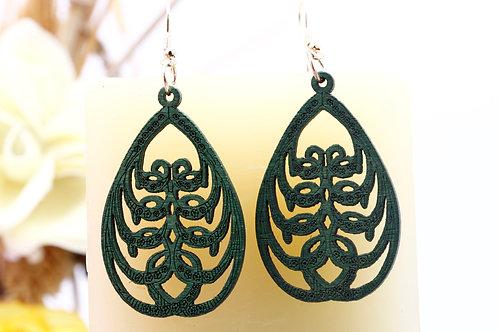Wood  Green Earrings