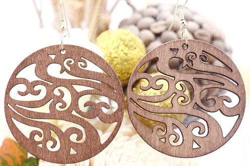 Wood Bronw Arabesques Earring