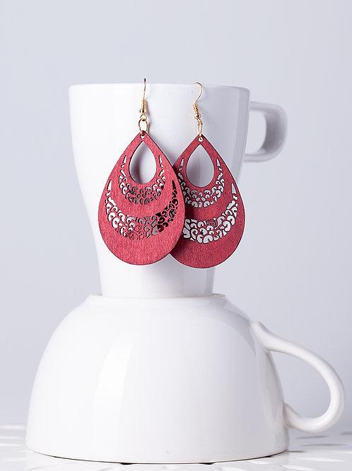 Wood Plant Red Earrings