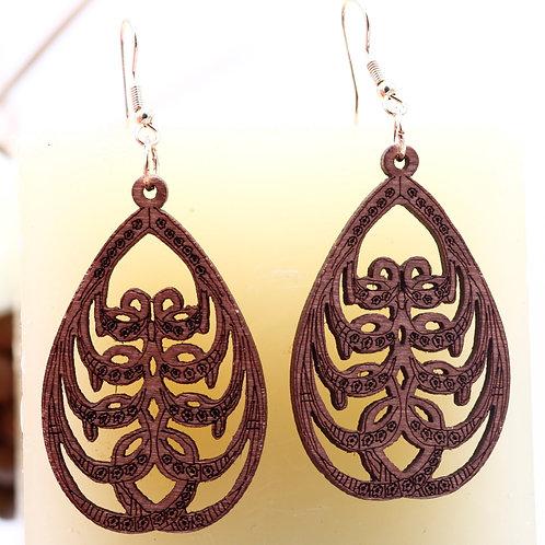 Wood Bronw Earrings