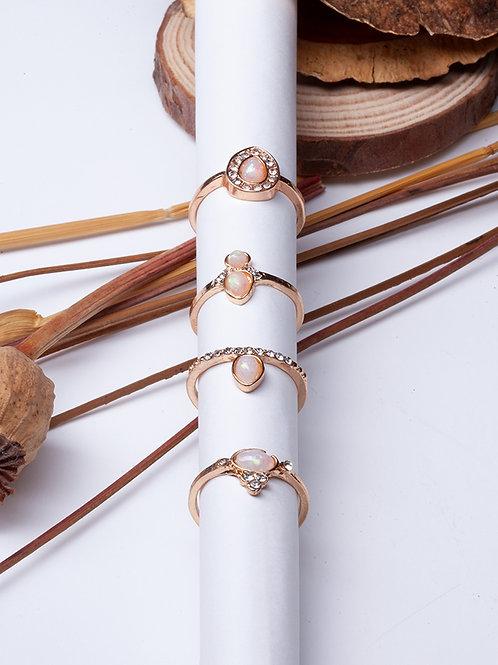 Set Anéis Dourados Pink