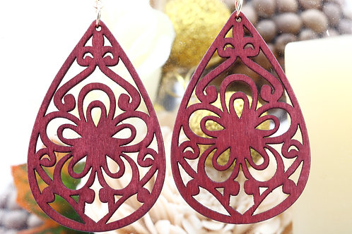 Wood Red Gio Earring