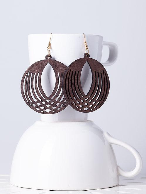 Wood Spherical Earrings