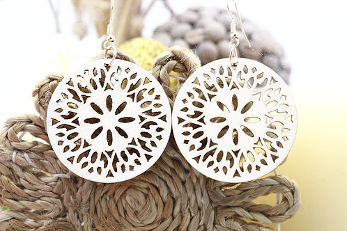 Wood White Penta Earring