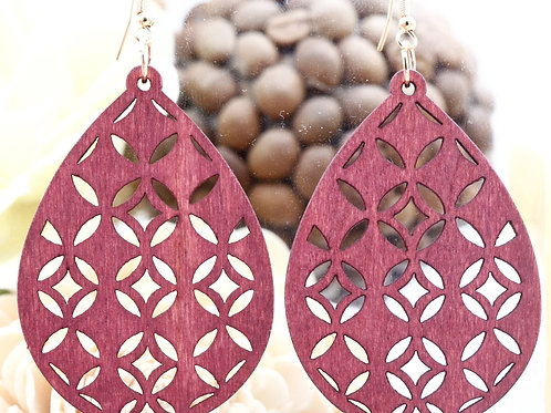 Wood Red Star Earring
