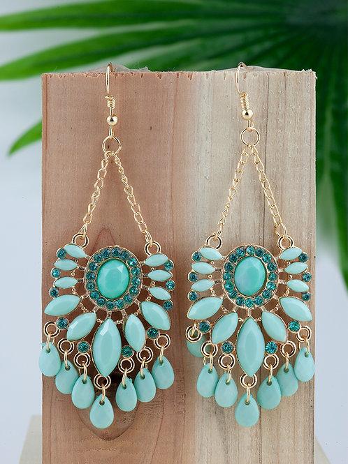 Brincos / Drop Earrings Flower Turquoise