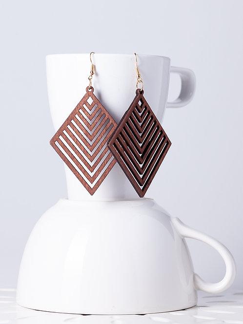 Wood Geometric Earrings