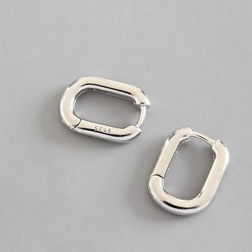Argolas de Prata 925 Geometric Ellipse Silver