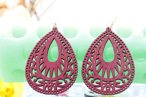 Wood Red Tracery Earrings