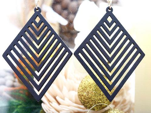 Wood Black Octa Earrings