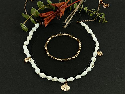 Colar Golden Natural Sea Shells and bracelet
