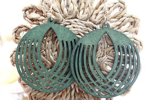 Wood  Green Spherical Earrings