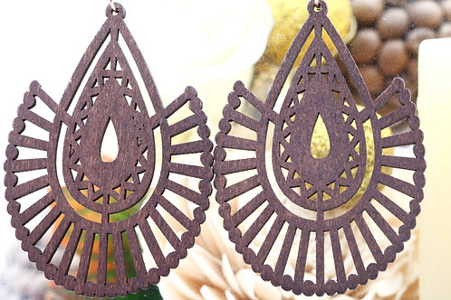 Wood Bronw Angel Earring
